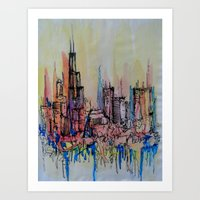 chicago Art Prints featuring Chicago by silvsstang