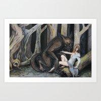 Meeting The Wolf Art Print