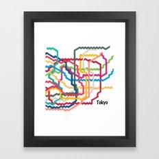 Tokyo Subway Map Square Framed Art Print
