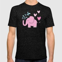 Elephant Love Walk Pink Mens Fitted Tee Tri-Black SMALL
