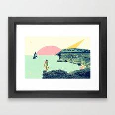 LITTLE GIRL ON THE BEACH Framed Art Print