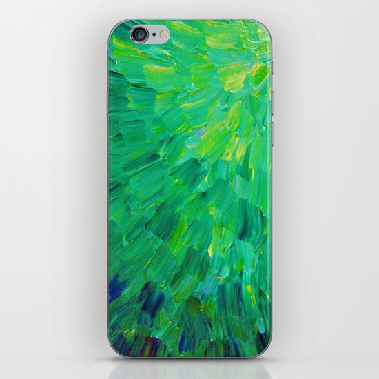SEA SCALES in GREEN - Bright Green Ocean Waves Beach Mermaid Fins Scales Abstract Acrylic Painting iPhone & iPod Skin