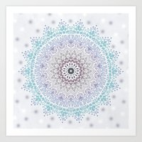 BLUE SUMMER MANDALA Art Print