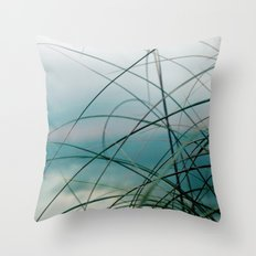 Beach Grass and Sea Throw Pillow