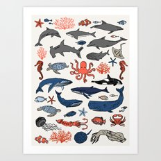 Ocean Animals  Art Print