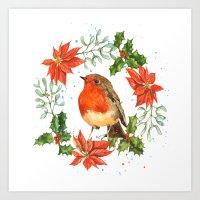 Christmas Robin print, robin painting, seasonal decor, robin illustration, retro Christmas Art Print