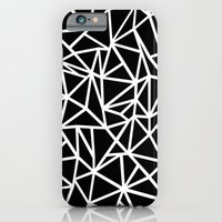 iPhone & iPod Case featuring Abstract Outline Thick White on Black by Project M
