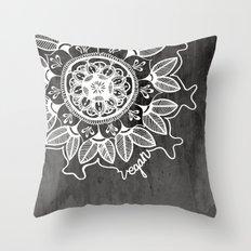 Vegan Mandela drawing Throw Pillow