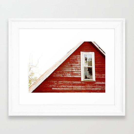 Red Barn Window Framed Art Print