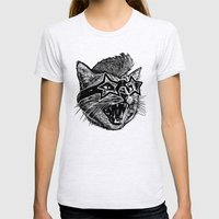 Funky Cat Womens Fitted Tee Ash Grey SMALL