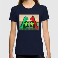 Dino Party at Sea Womens Fitted Tee Navy SMALL