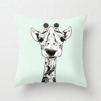 Giraffe Tattooed  Throw Pillow
