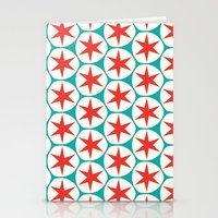 Retro Red Stars Pattern Stationery Cards