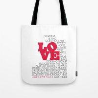 LOVE. 1 Corinthians 13:4… Tote Bag