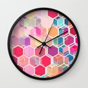 Rainbow Honeycomb - colorful hexagon pattern Wall Clock
