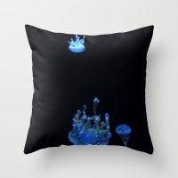 Tiny Upsidedown Blue Throw Pillow