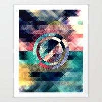 Colorful Grunge Geometric Abstract Art Print