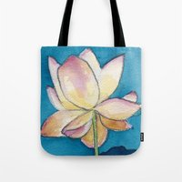 Lotus on Blue Tote Bag