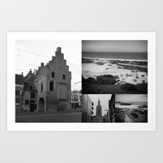 Photo collage of The Hague 2 in black and white Art Print