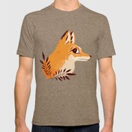 Fox Familiar Mens Fitted Tee Tri-Coffee SMALL