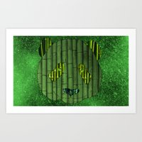 Panda & bamboo Art Print