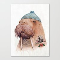 Tattooed Walrus Canvas Print