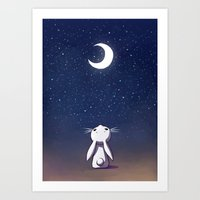 bunny Art Prints featuring Moon Bunny by Freeminds