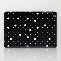 Pin Point Polka Dots White on Black iPad Case