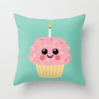 Happy Pixel Cupcake Throw Pillow