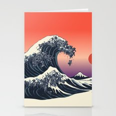 The Great Wave of Black Pug Stationery Cards