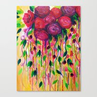 ROSES ARE RAD - Bold Fun Red Roses Floral Bouquet Vines, Flowers Abstract Acrylic Painting Fine Art Canvas Print