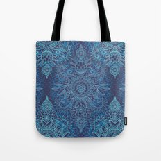 Aqua, Cobalt Blue & Purple Protea Doodle Pattern Tote Bag