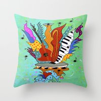 Blooming Notes V. Throw Pillow