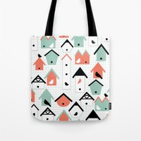 birds and houses Tote Bag
