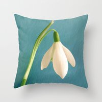 Single Snowdrop Throw Pillow