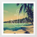 Vintage Summer Anchor Art Print