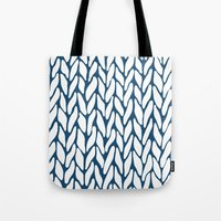 Hand Knitted Navy Tote Bag