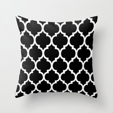 Morocan Black and White Lattice Moroccan Pattern Throw Pillow