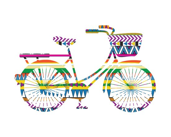 Bicycle with Tribal Pattern Art Print