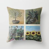 Acrylic Painting Quartet Throw Pillow