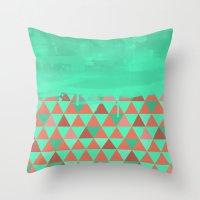Triangle Dip Mint Throw Pillow