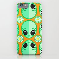 iPhone & iPod Case featuring Happy Alien and Daisy Nineties Grunge Pattern by chobopop
