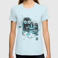 Nocturnal Friends Womens Fitted Tee Light Blue SMALL