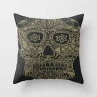 Gold Skull Throw Pillow