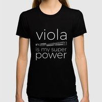 Viola is my super power (black) Womens Fitted Tee Black SMALL