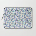 Hand Painted Purple & Aqua Leaf Pattern on Cream Laptop Sleeve