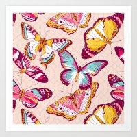 Aflutter in Blush Art Print