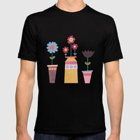 Floral Pots Mens Fitted Tee Black SMALL