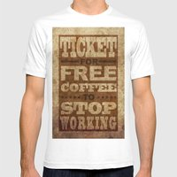 Free Coffee Ticket Mens Fitted Tee White SMALL