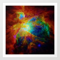 nebula Art Prints featuring Orion NEBula  : Colorful Galaxy by 2sweet4words Designs